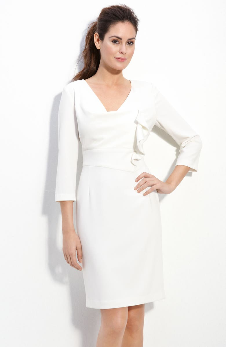 ADRIANNA PAPELL Ruffle Front Crepe Dress, Main, color, IVORY