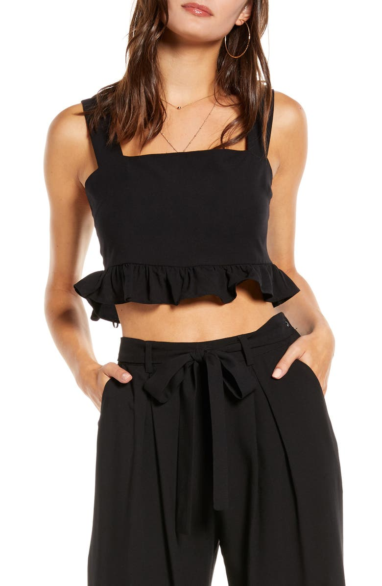 ENGLISH FACTORY Square Neck Ruffle Crop Top, Main, color, 001