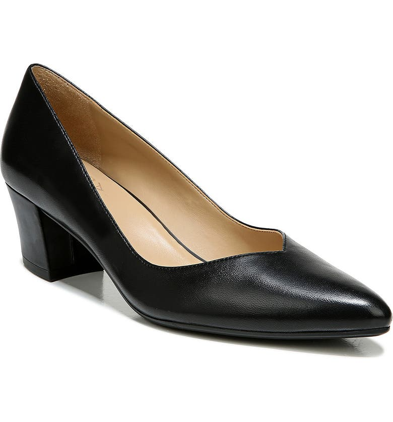 NATURALIZER Mali Pointed Toe Pump, Main, color, BLACK LEATHER