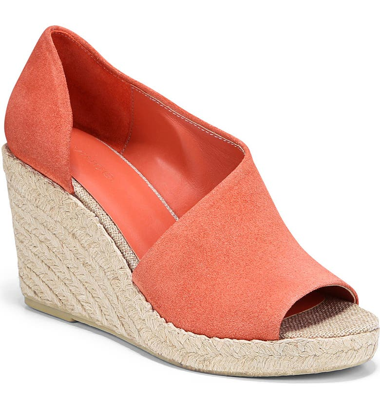 VINCE Sonora Leather Espadrille Wedge Sandal, Main, color, CORAL BLOSSOM
