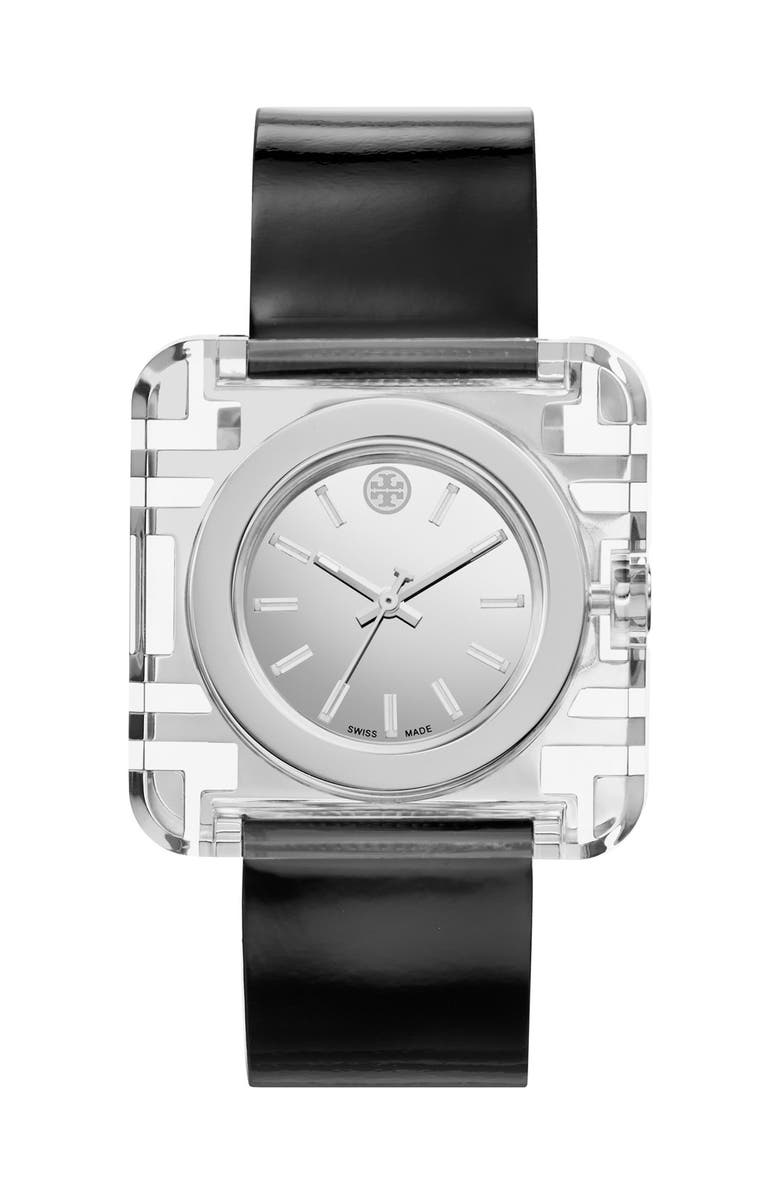 TORY BURCH 'Izzie' Square Leather Strap Watch, 36mm, Main, color, 001