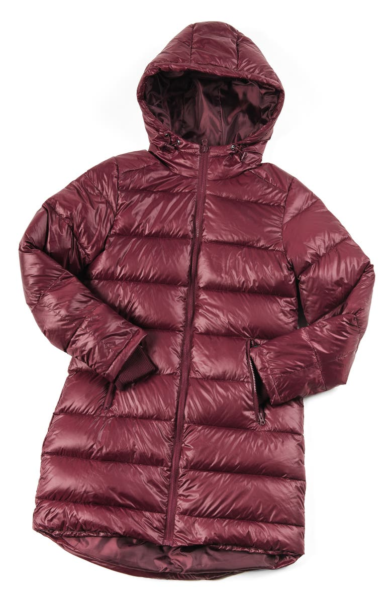 MODERN ETERNITY 3-in-1 Waterproof Quilted Down & Feather Fill Maternity Puffer Coat, Main, color, BURGUNDY