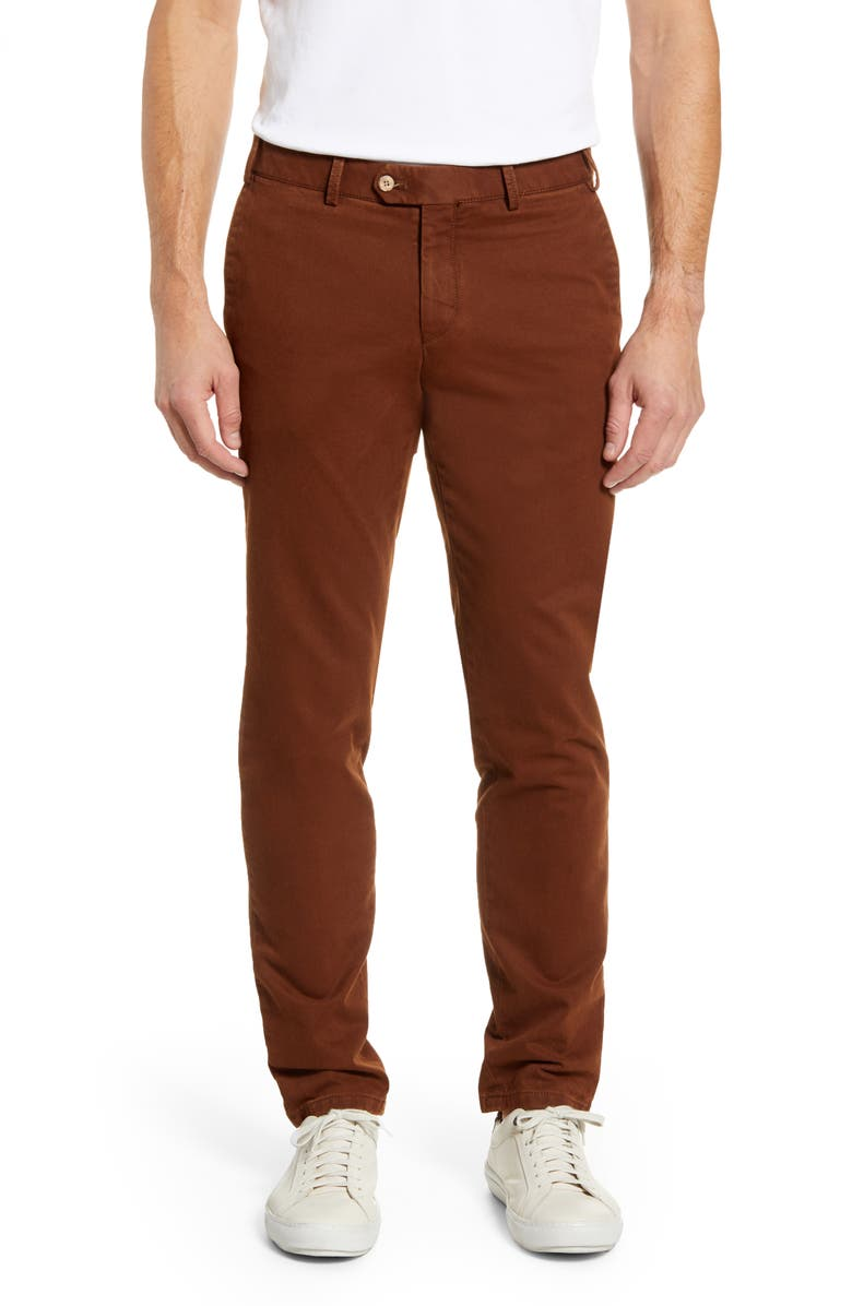 HILTL Tierre Slim Fit Washed Twill Pants, Main, color, 200