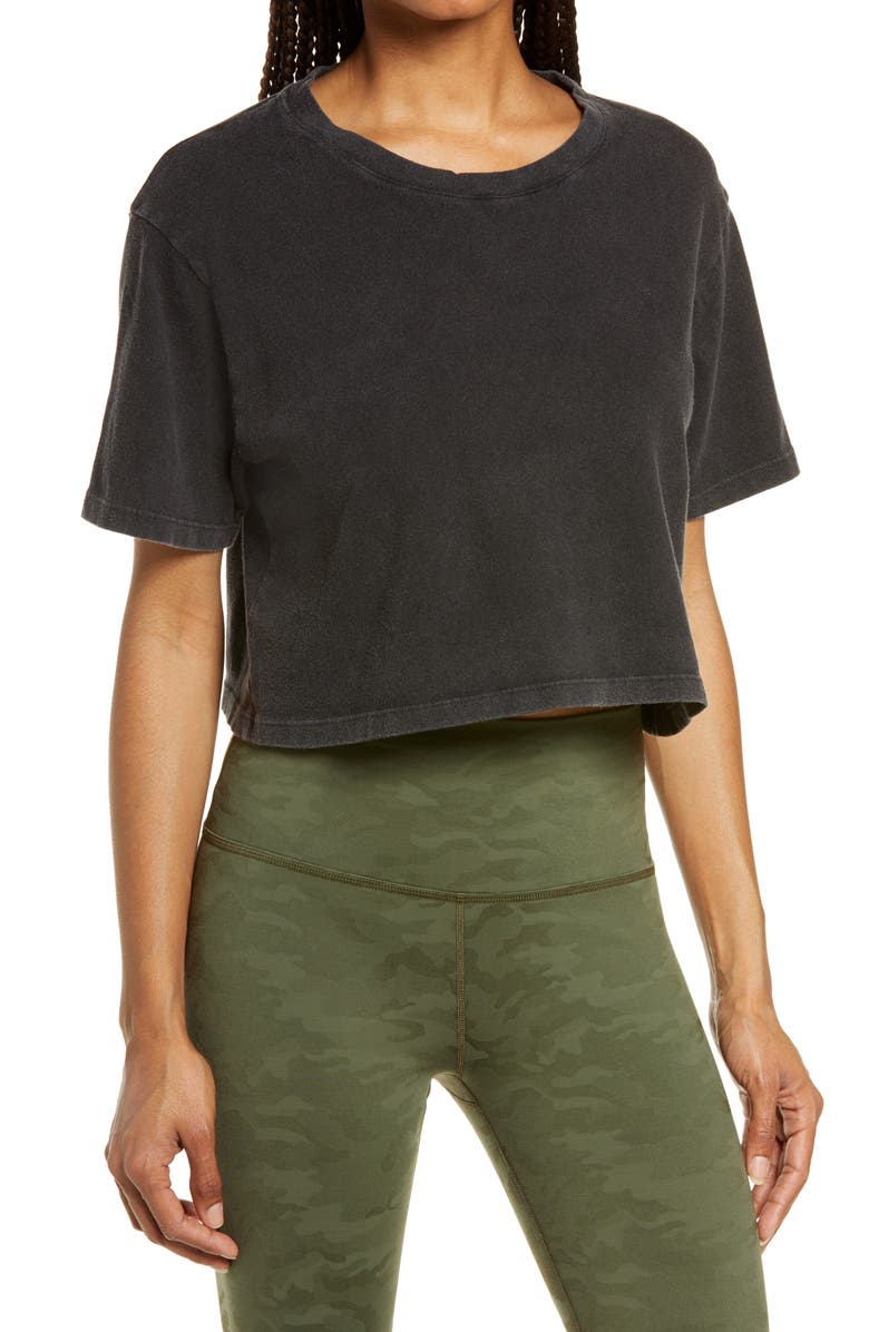 BEYOND YOGA Stay In Oversize Crop T-Shirt, Main, color, WASHED BLACK