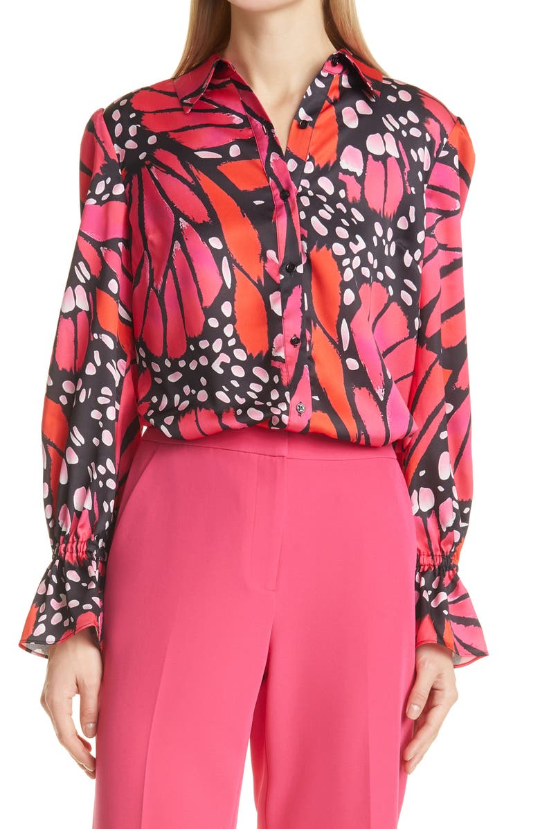MILLY Lacey Butterfly Satin Button-Up Blouse, Main, color, BLACK/POMEGRANATE