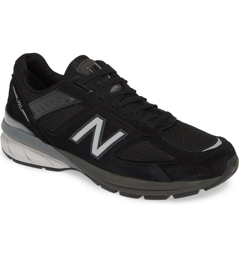 NEW BALANCE 990v5 Made in US Running Shoe, Main, color, BLACK/ SILVER
