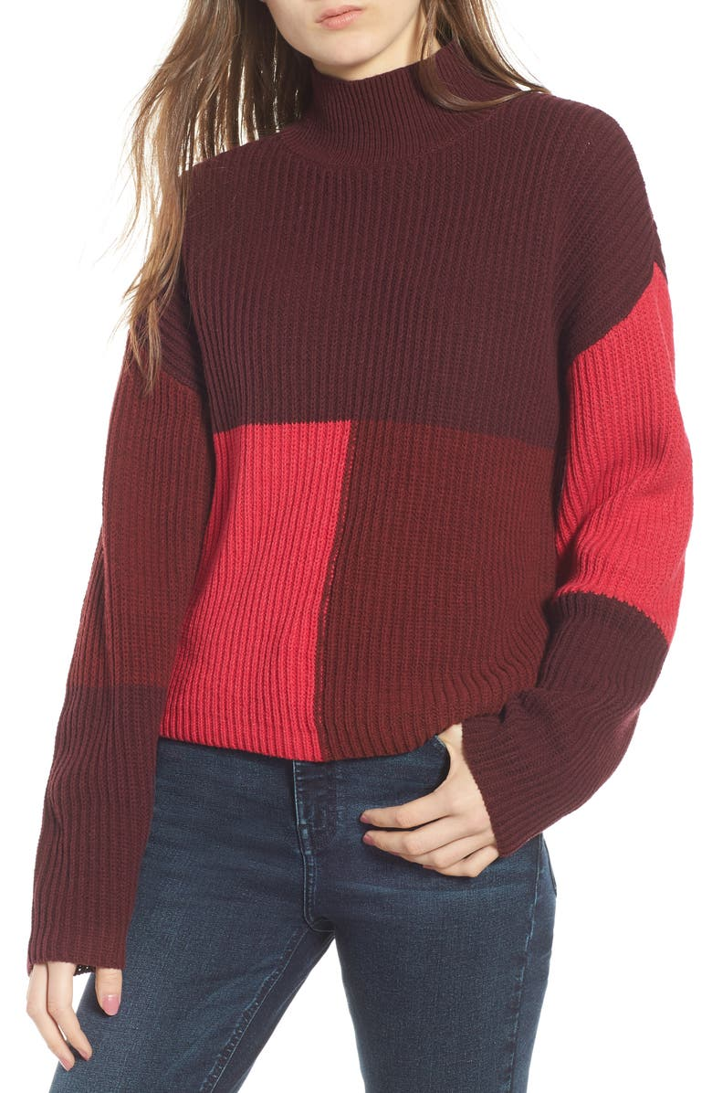 BP. Mock Neck Colorblock Sweater, Main, color, 601