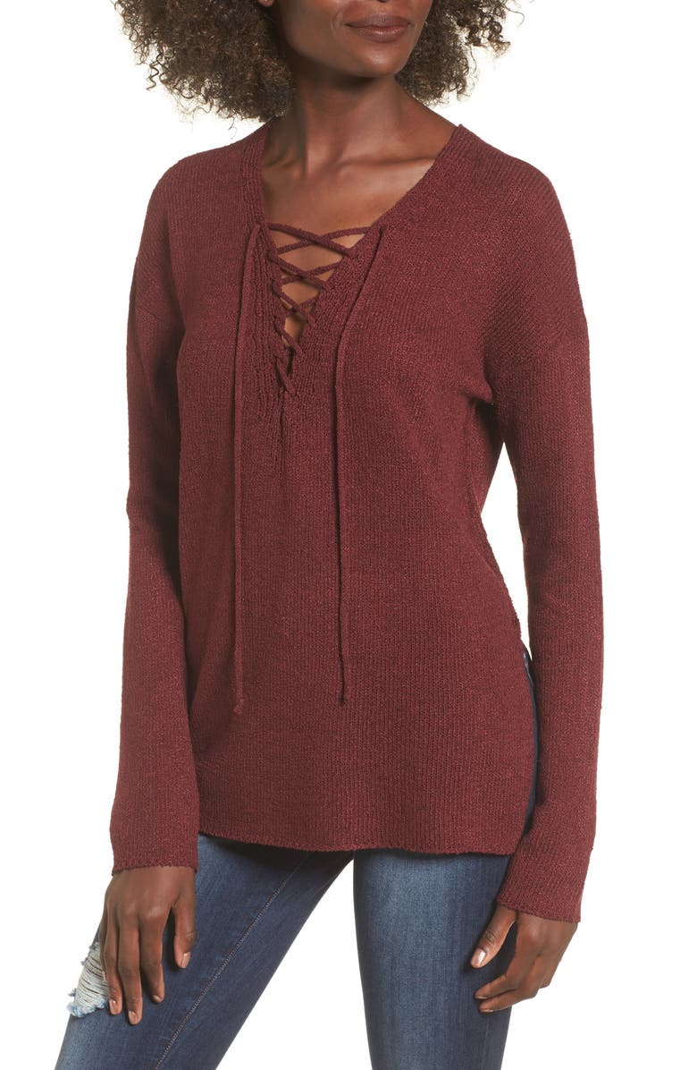 ASTR THE LABEL ASTR Lace-Up Sweater, Main, color, 930