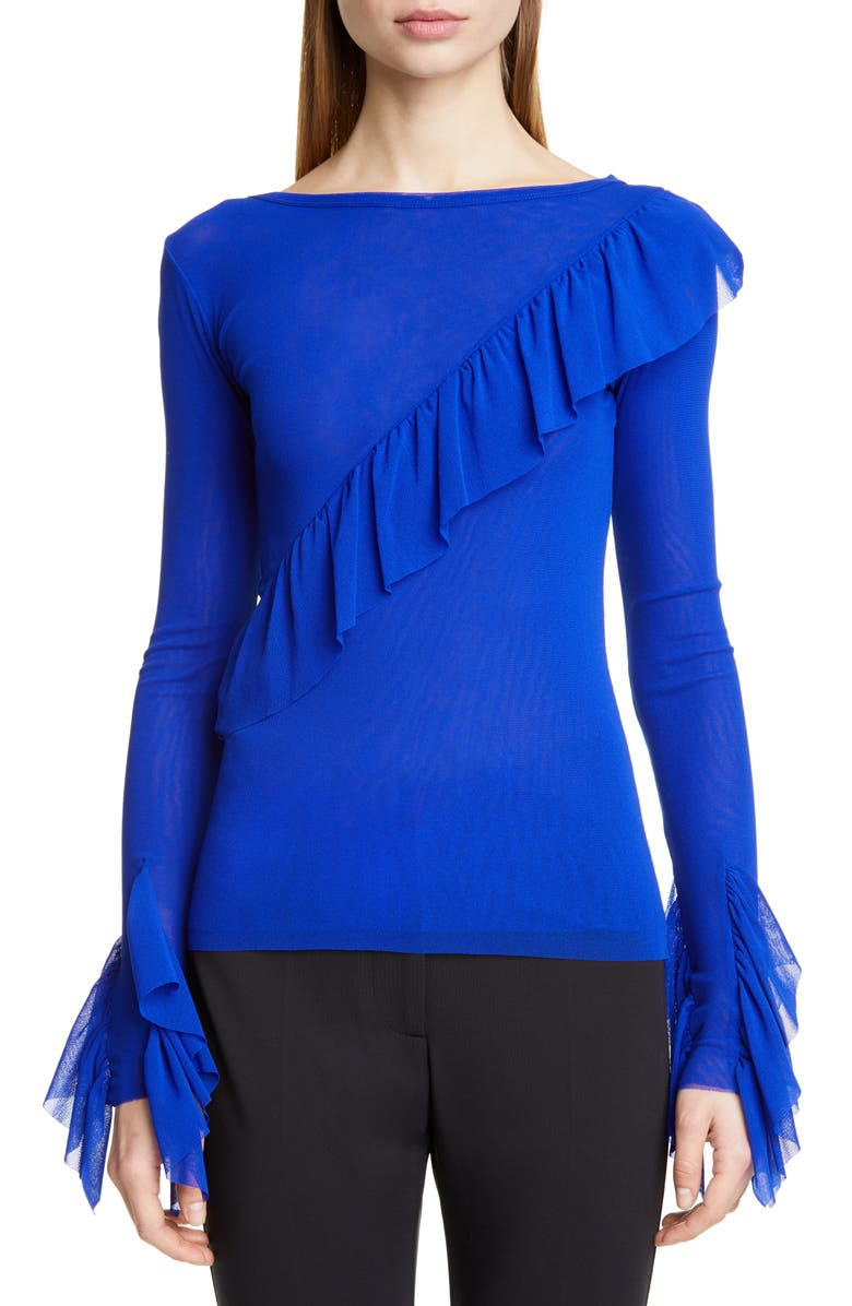 FUZZI Ruffle Detail Mesh Top, Main, color, 400