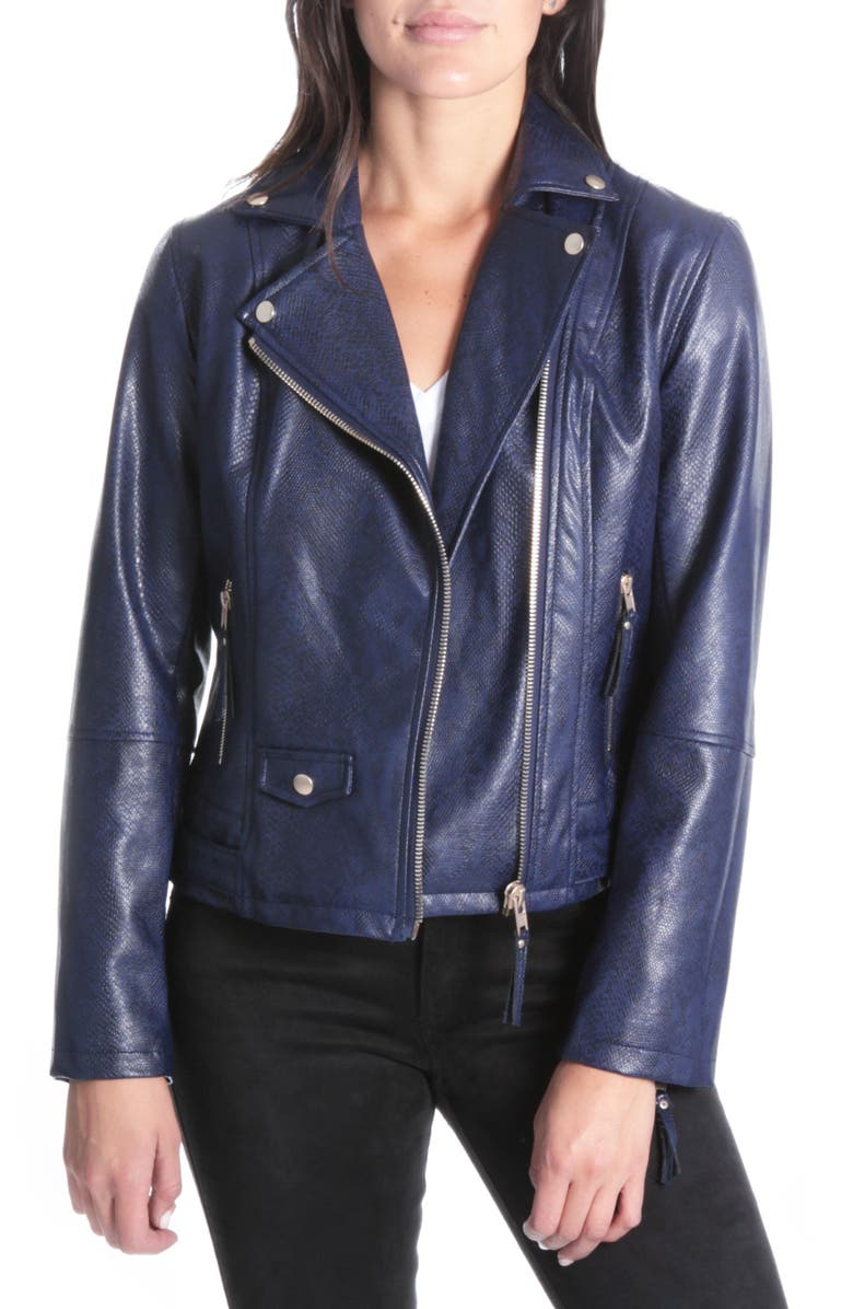 KUT FROM THE KLOTH Brooke Faux Leather Moto Jacket, Main, color, 416