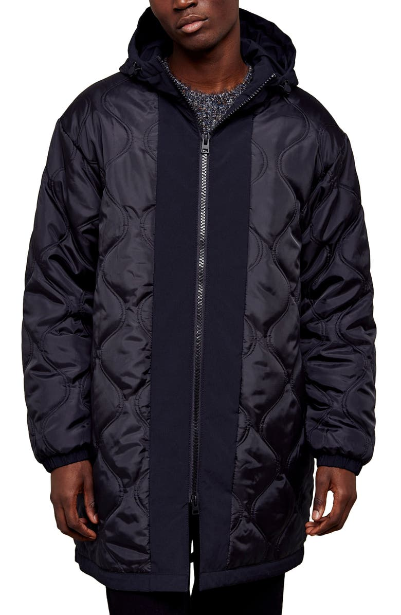 TOPMAN Onion Reversible Classic Fit Quilted Hooded Parka, Main, color, BLACK