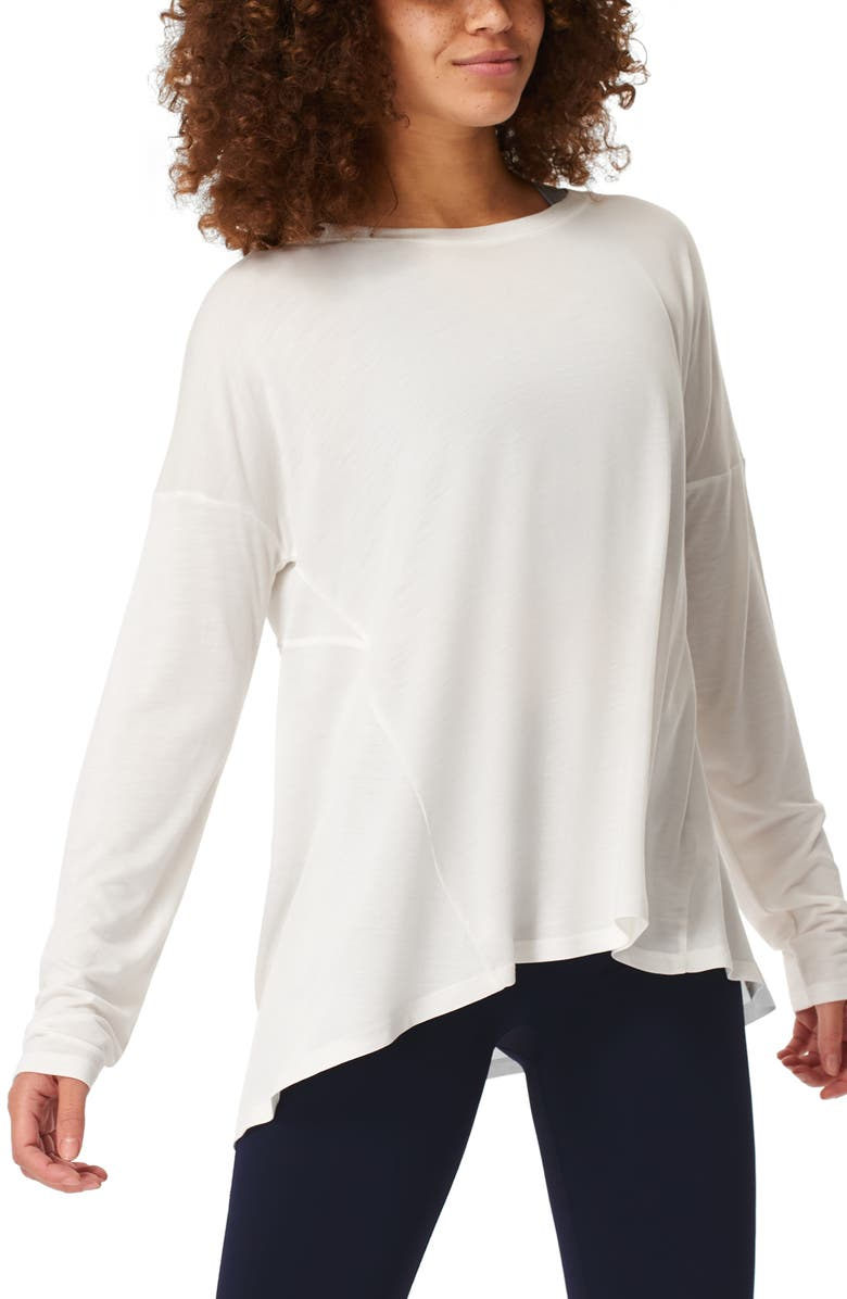 SWEATY BETTY Easy Peazy Long Sleeve Shirt, Main, color, WHITE