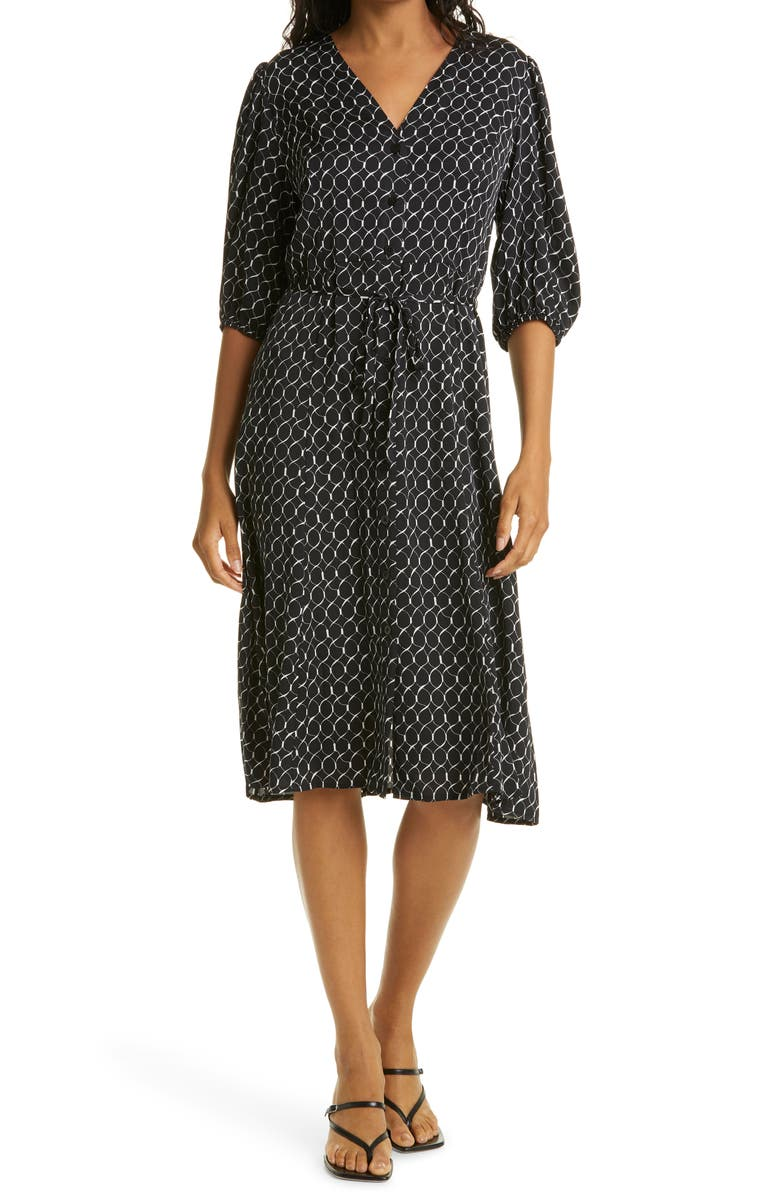 NORDSTROM SIGNATURE Button Front Stretch Silk Dress, Main, color, BLACK- IVORY GEO