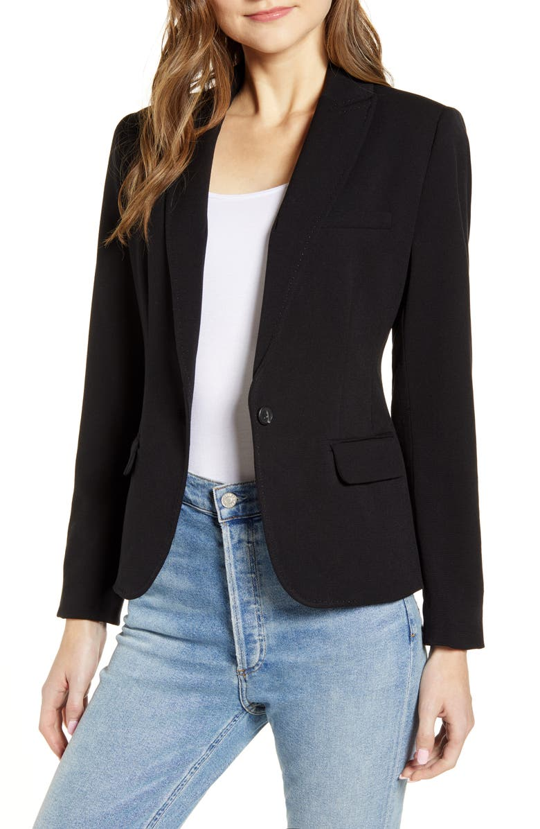 VINCE CAMUTO Nina Classic Notched Collar Blazer, Main, color, RICH BLACK