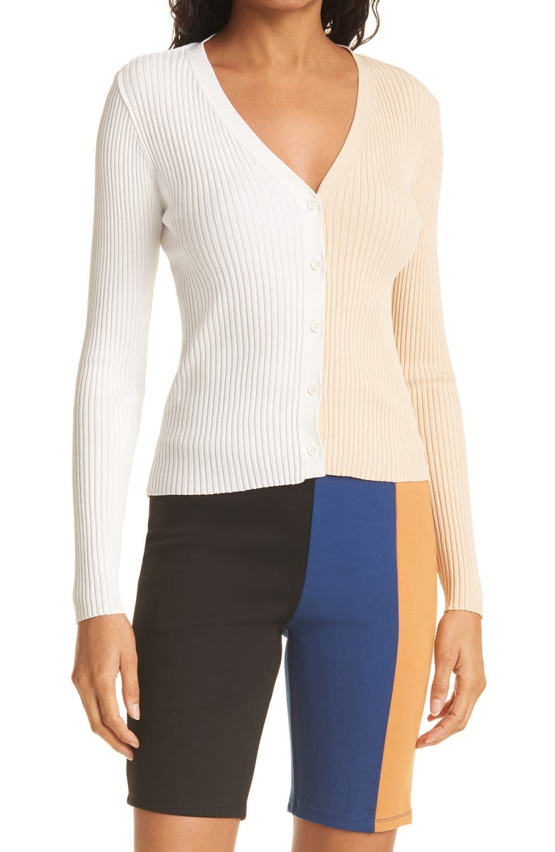 STAUD Cargo Colorblock Sweater, Main, color, BISCOTTI/ WHITE