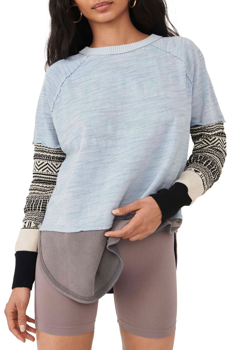 FREE PEOPLE Jordan Mix Knit Tee, Main, color, COLD WEATHER COMBO