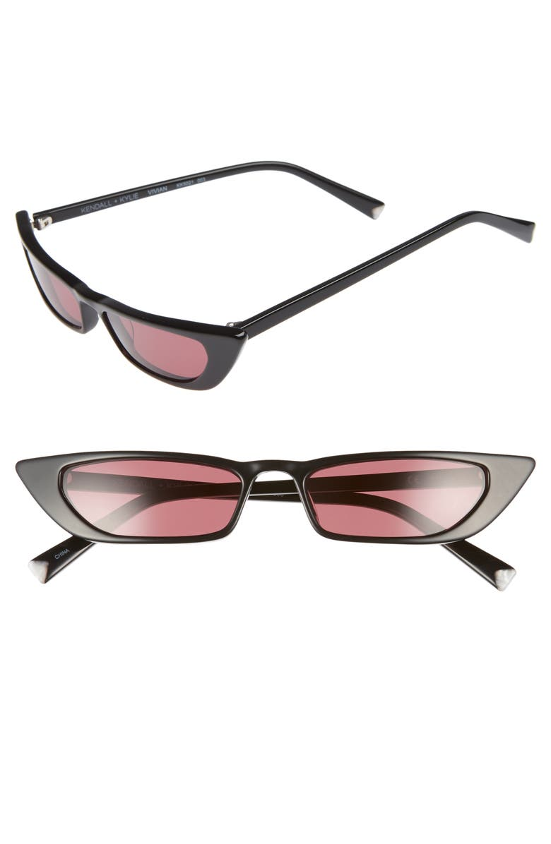 KENDALL + KYLIE Vivian 51mm Extreme Cat Eye Sunglasses, Main, color, 003