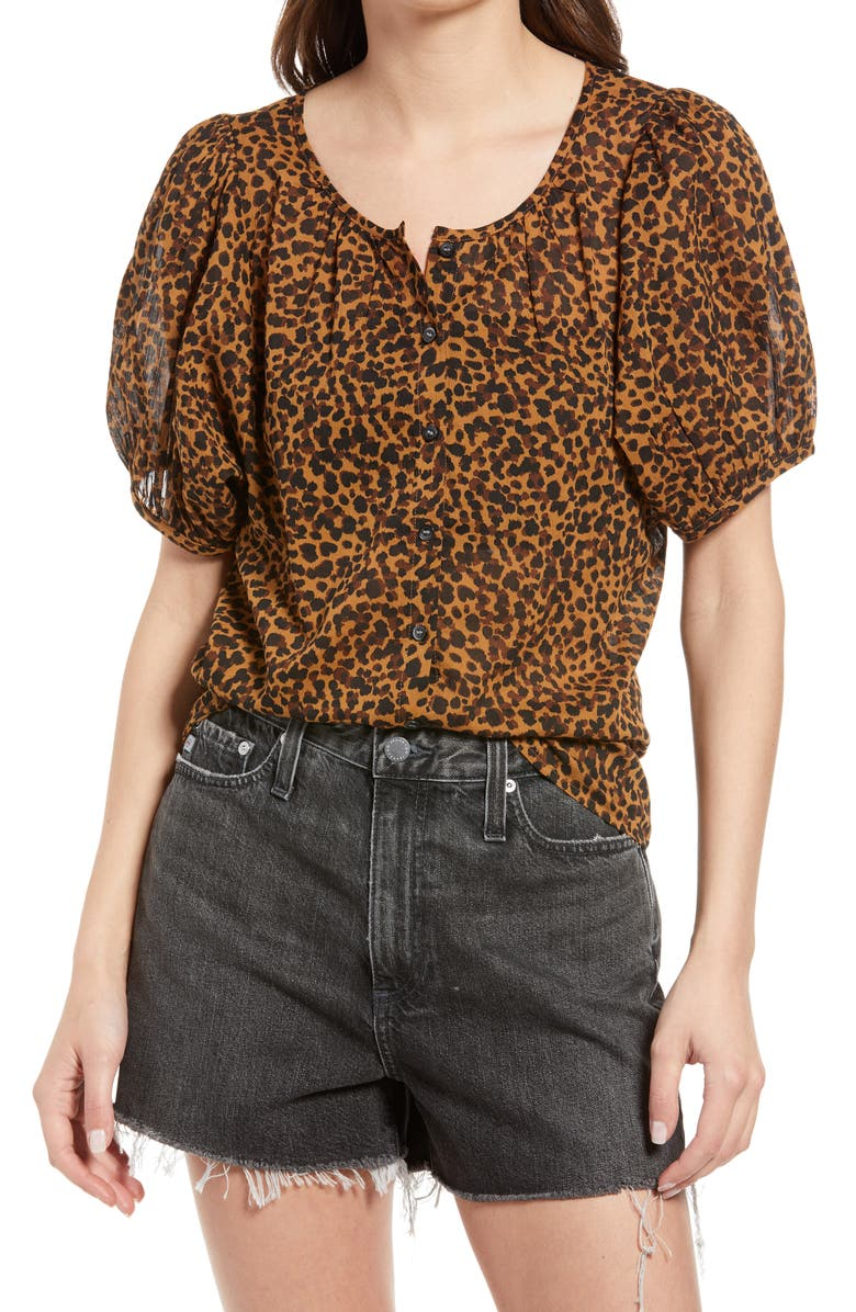 MADEWELL Painted Leopard Balloon Sleeve Button-Up Top, Main, color, BRUSHED LEOPARD WARM HICKORY