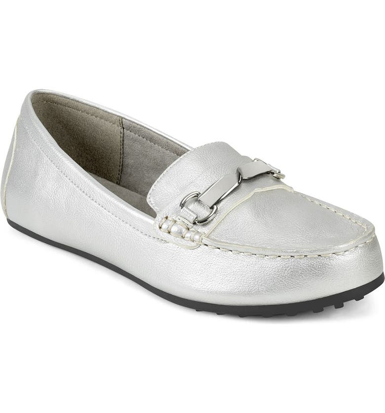 AEROSOLES Dunellen Two Bit Driving Moccasin - Wide Width Available, Main, color, SILVER METALLIC