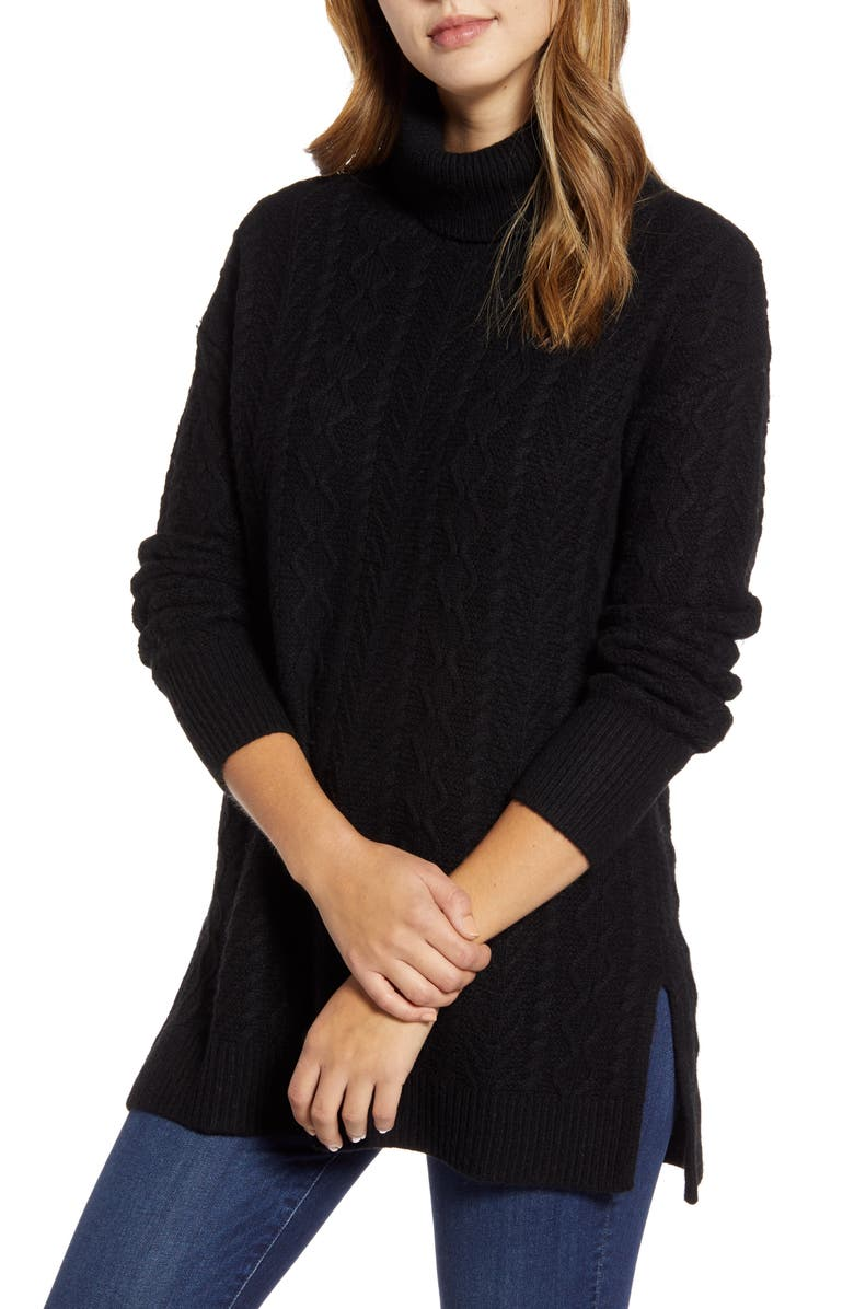 HALOGEN<SUP>®</SUP> Cable Turtleneck Tunic Sweater, Main, color, 001