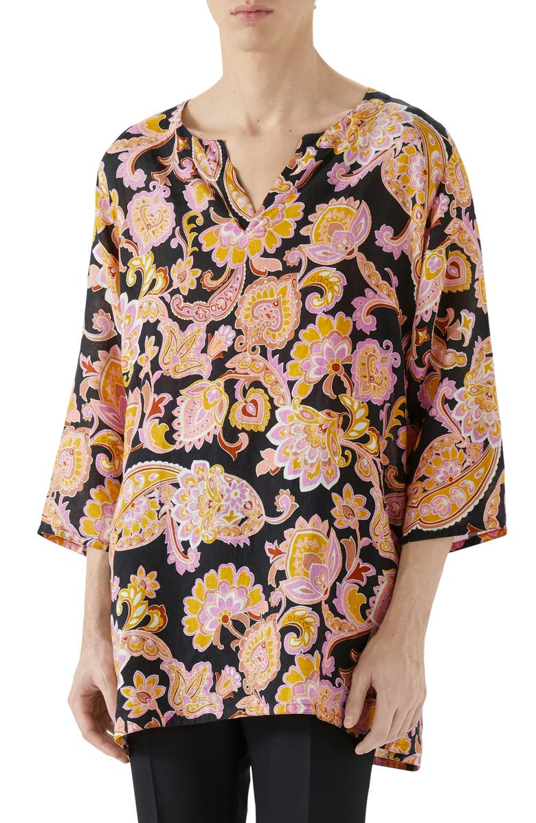 GUCCI Paisley Linen Tunic, Main, color, BLACK/ROSE BEIGE PRT