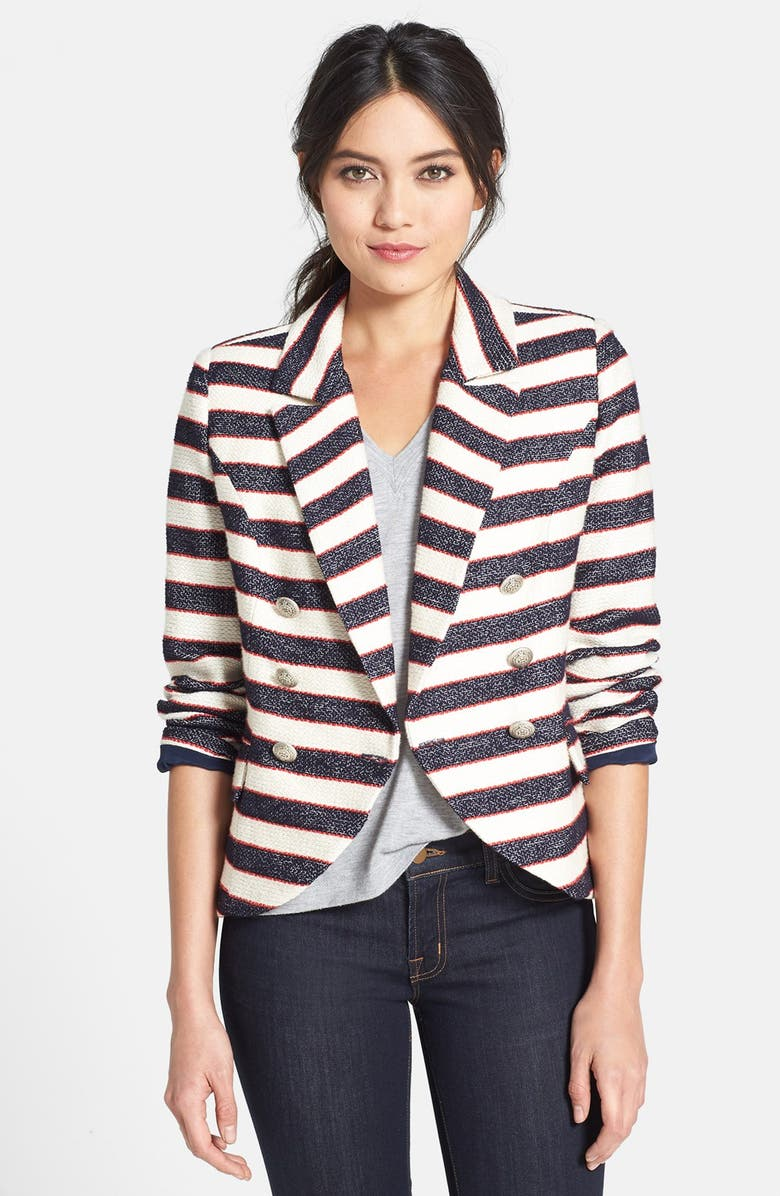 SEARCH FOR SANITY Double Breasted Stripe Blazer, Main, color, 415