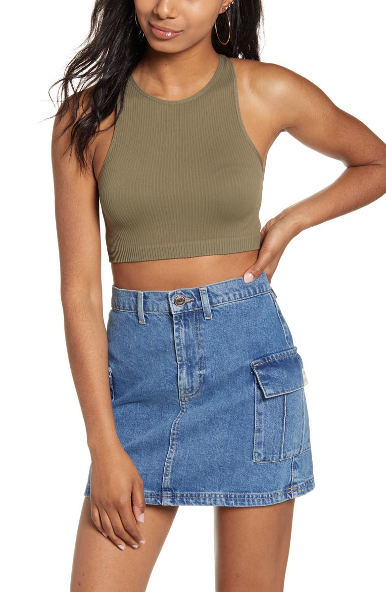 BDG URBAN OUTFITTERS Racerback Crop Tank, Main, color, 300