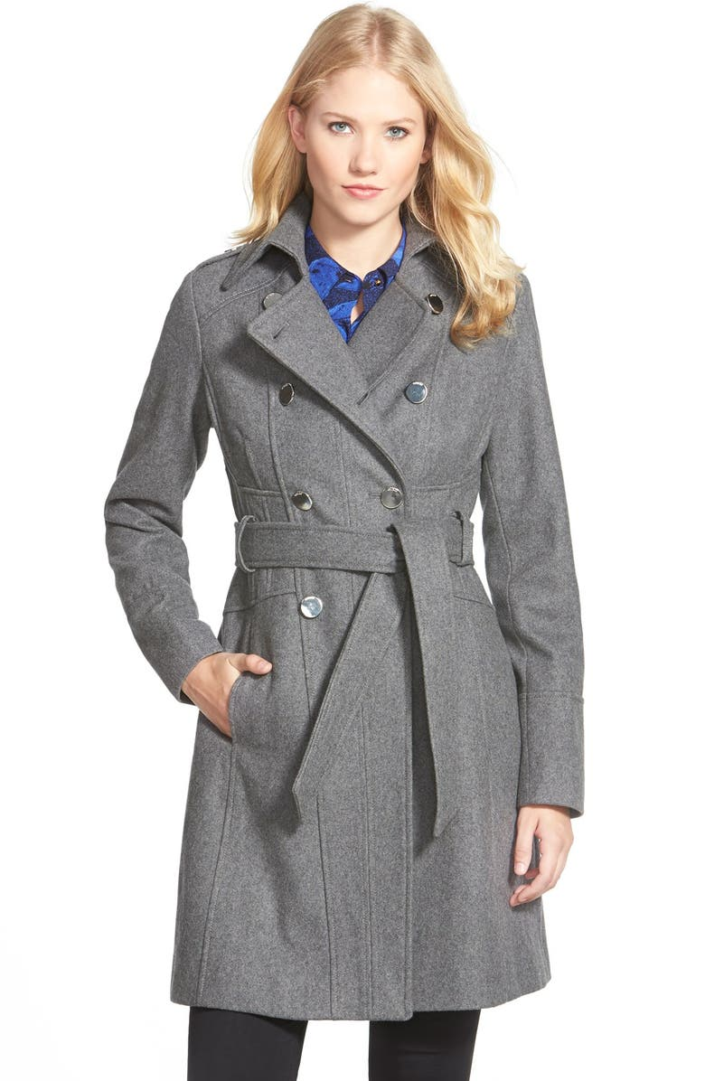 GUESS Wool Blend Trench Coat, Main, color, HEATHER GREY