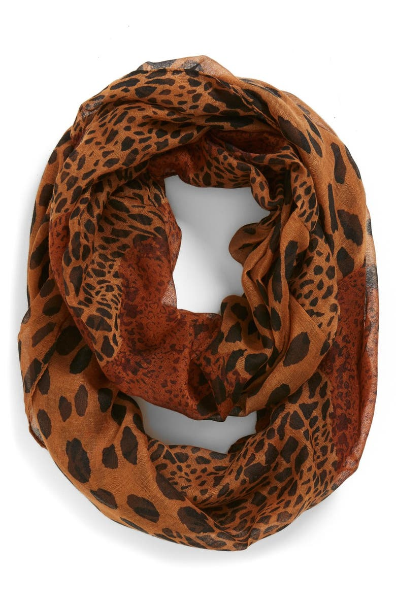 BP. Mixed Leopard Print Infinity Scarf, Main, color, Brown