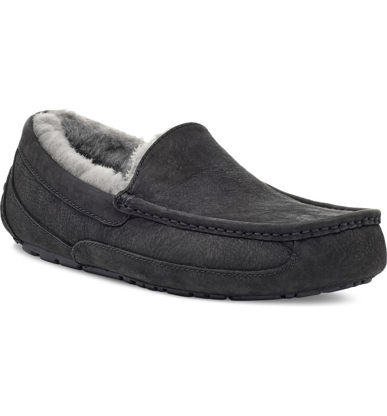 UGG<SUP>®</SUP> Ascot Leather Slipper, Main, color, BLACK CHARCOAL