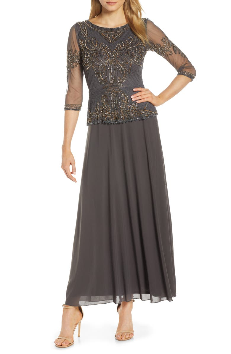 PISARRO NIGHTS Bead Embellished Gown, Main, color, 020