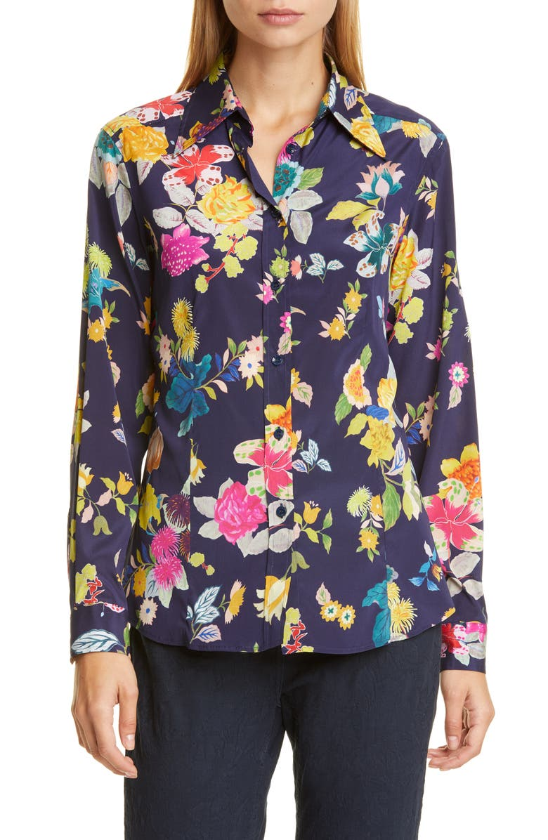 ETRO Floral Print Stretch Silk Shirt, Main, color, 410