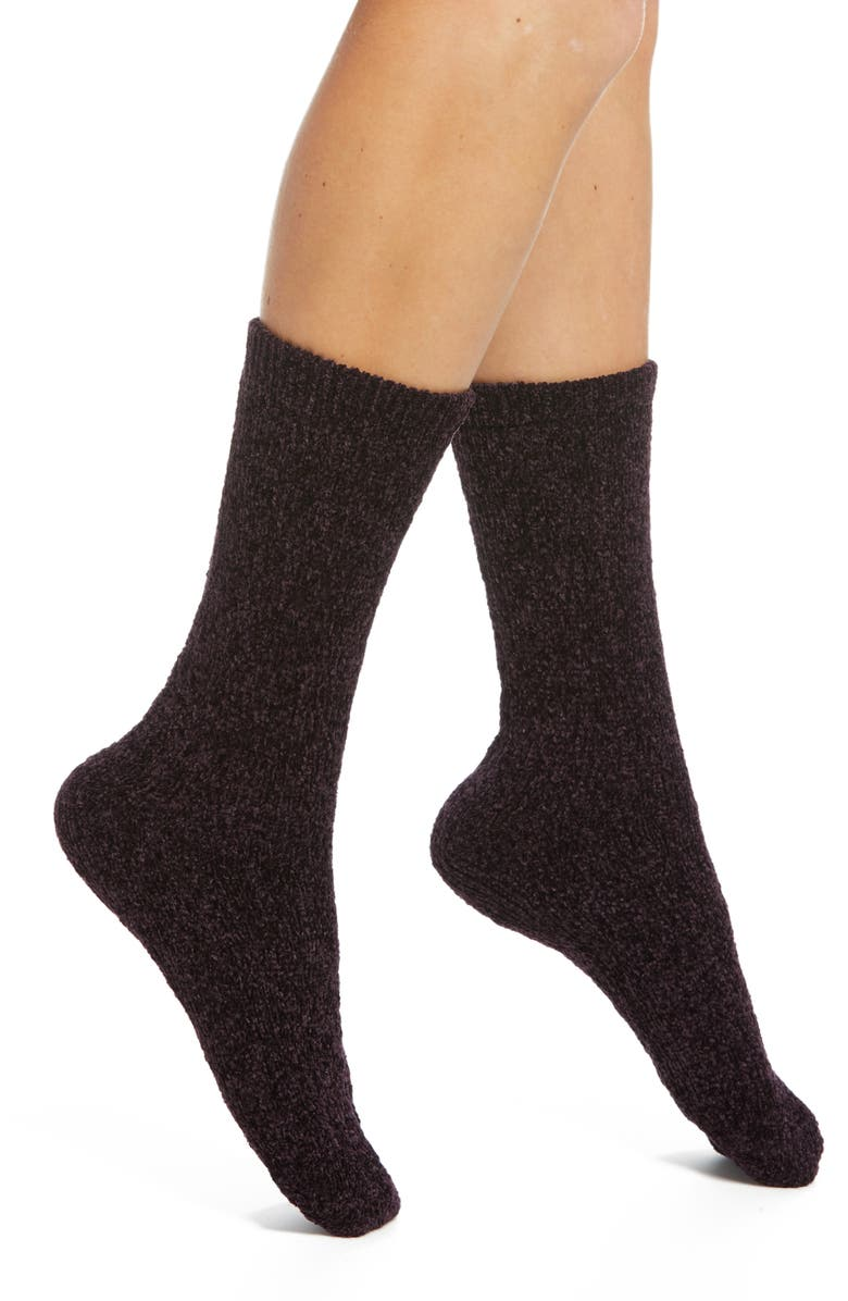 NORDSTROM Chenille Cable Knit Crew Socks, Main, color, BURGUNDY STEM