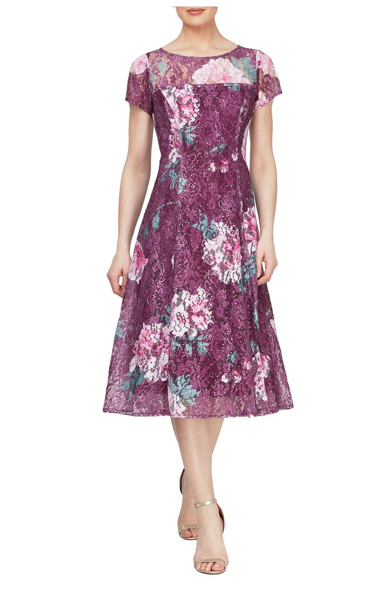 SLNY Floral Sequined Cap Sleeve Midi Dress, Main, color, FIG