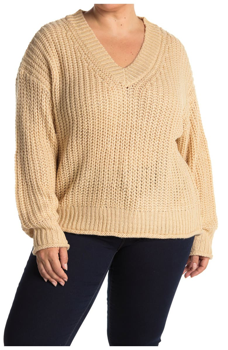 ALL IN FAVOR Chunky Knit V-Neck Sweater, Main, color, OATMEAL