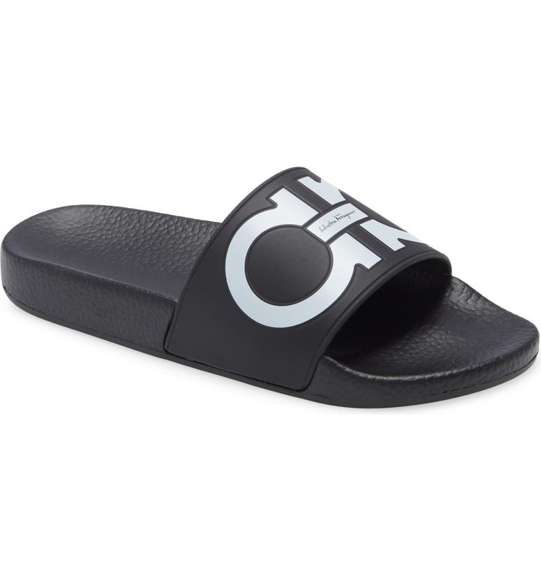 SALVATORE FERRAGAMO Groove 6 Sport Slide Sandal, Main, color, BLACK/ WHITE