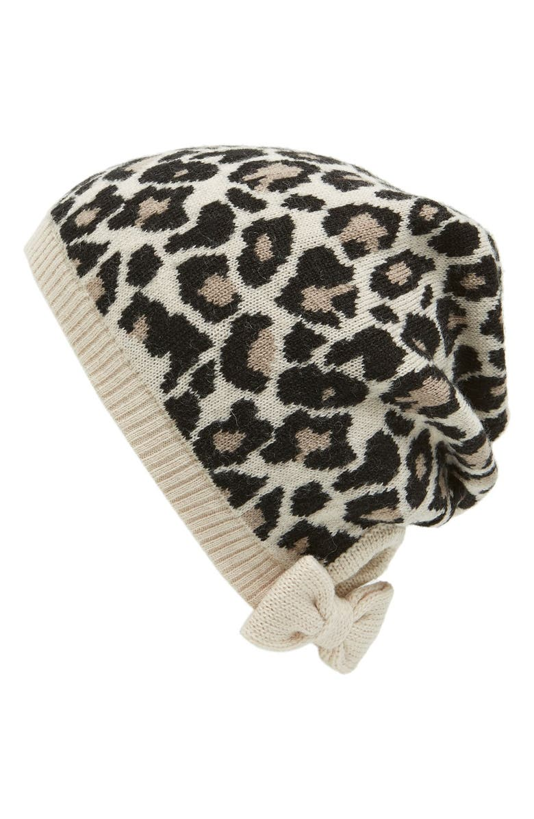 KATE SPADE NEW YORK leopard pattern knit beanie, Main, color, PUMICE