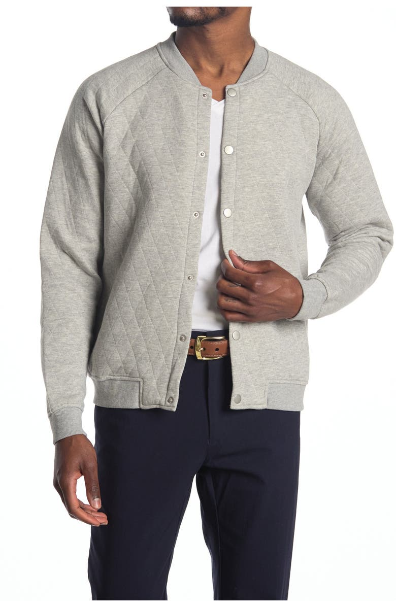 SOVEREIGN CODE Princeton Quilted Bomber Jacket, Main, color, HEATHER GREY