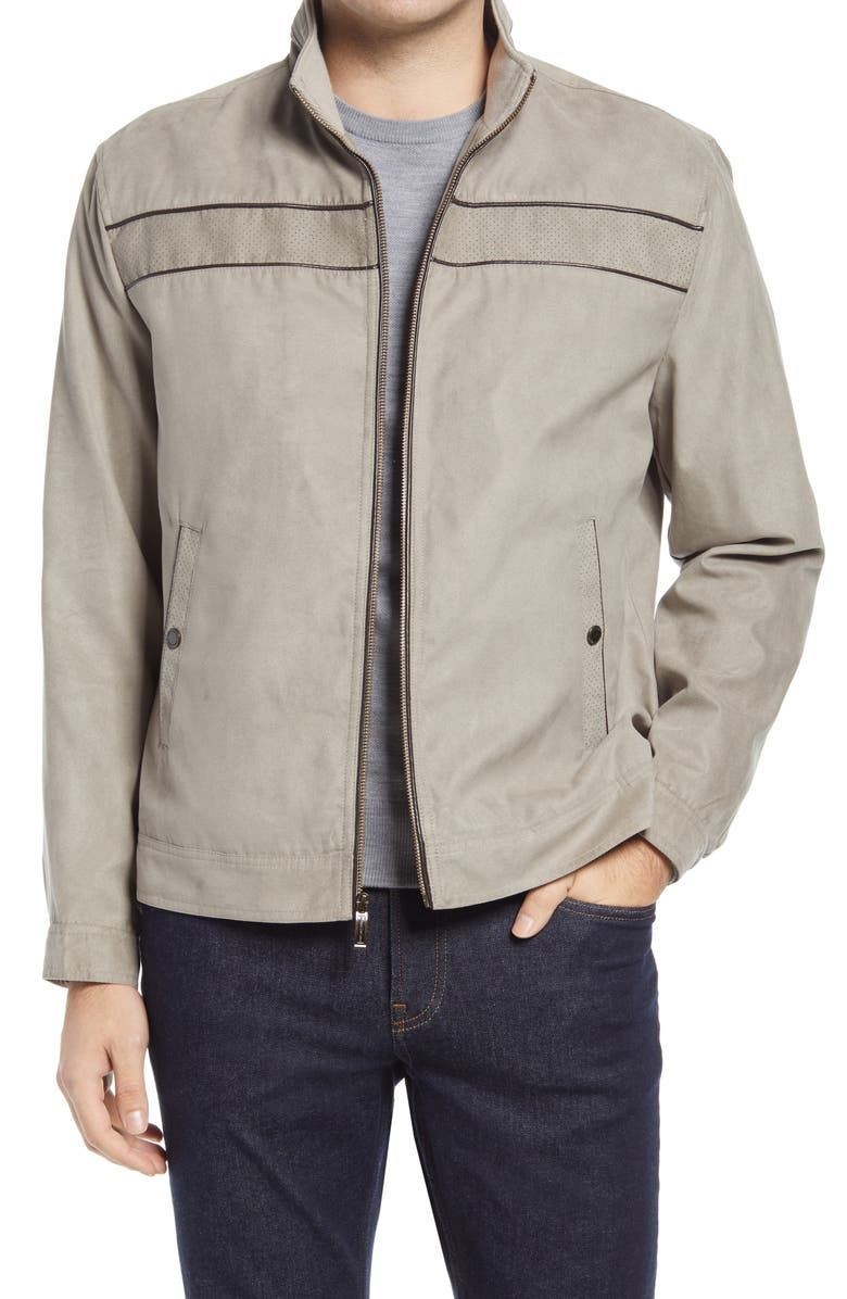 JOHNSTON & MURPHY Faux Suede Jacket, Main, color, TAUPE