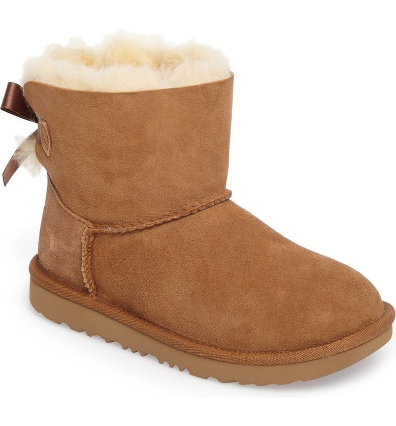 UGG<SUP>®</SUP> Mini Bailey Bow II Water Resistant Bootie, Main, color, CHESTNUT