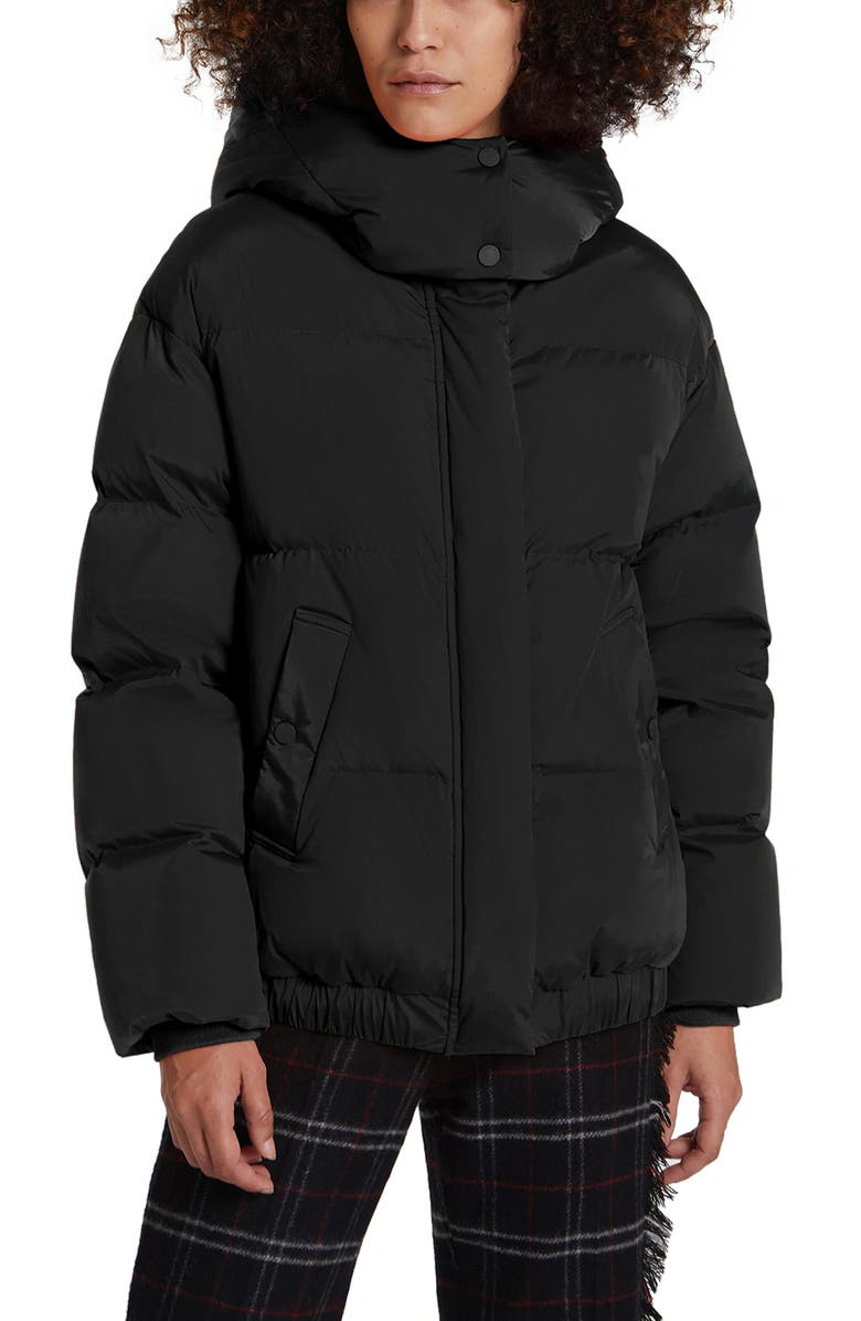 WOOLRICH Aurora Water Repellent Hooded Puffer Bomber Jacket, Main, color, BLACK