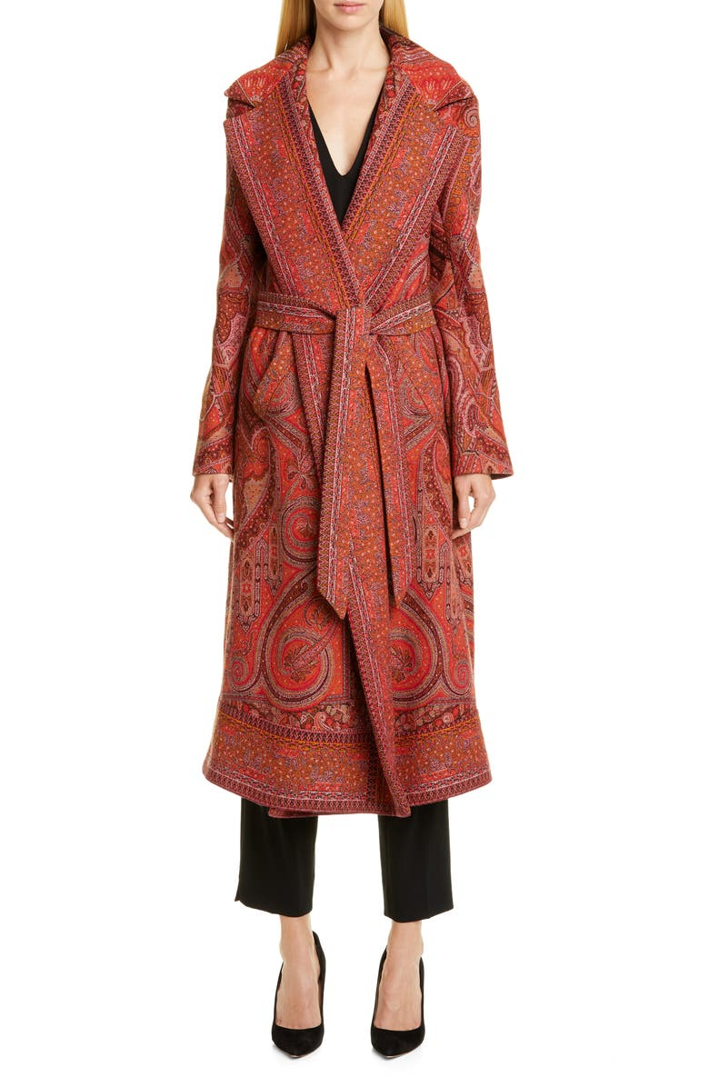 ETRO Belted Paisley Jacquard Wrap Coat, Main, color, 600
