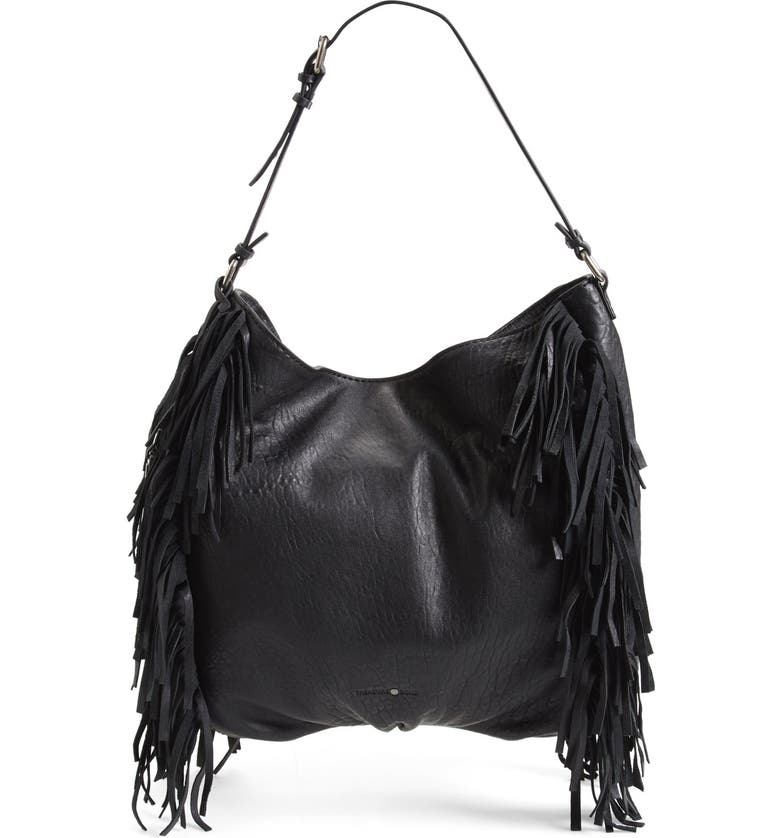 TREASURE & BOND Treasure&Bond Fringe Hobo Bag, Main, color, 001