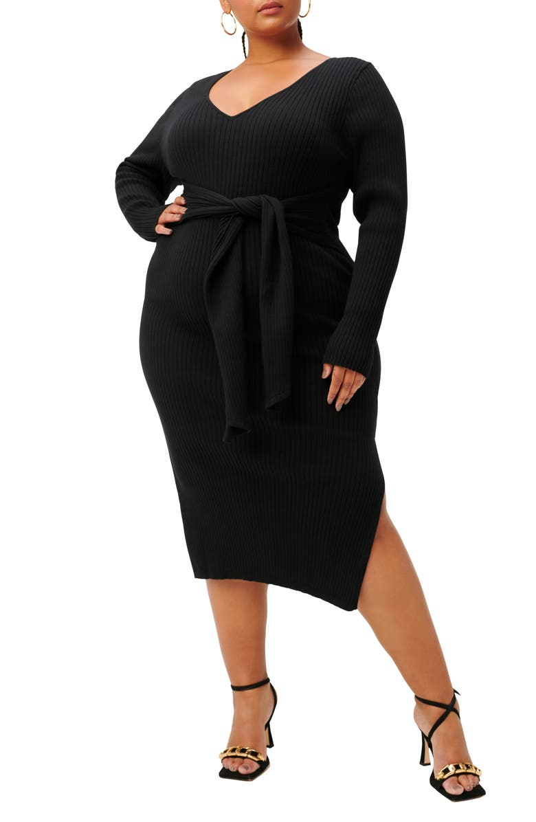 GOOD AMERICAN Long Sleeve Belted Body-Con Dress, Main, color, BLACK001