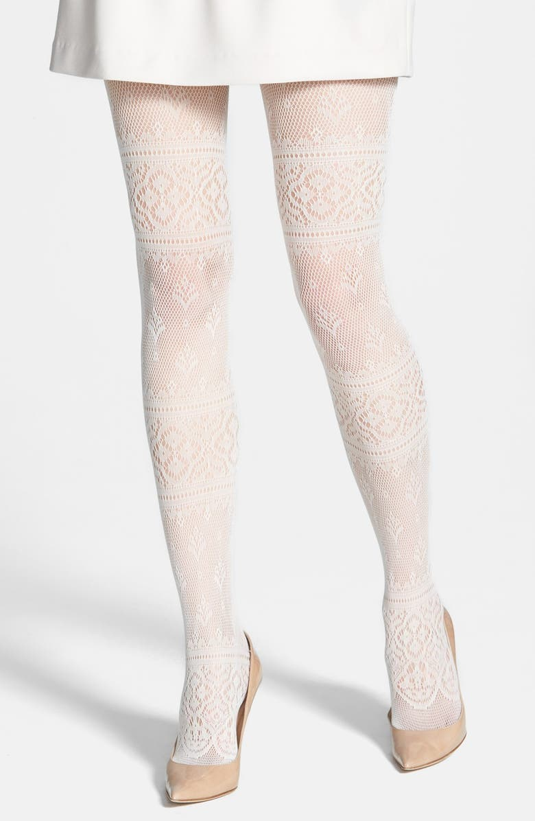 KENSIE Lace Stripe Tights, Main, color, IVORY