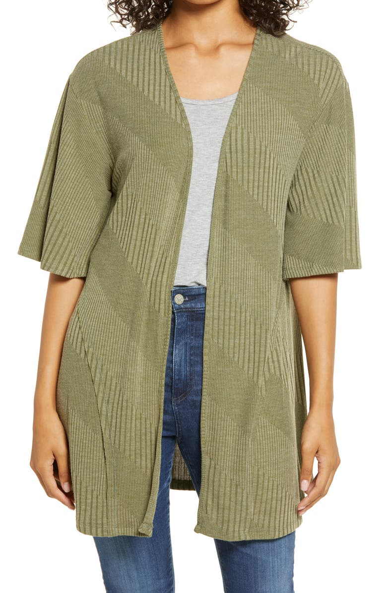 BOBEAU Open Front Cardigan, Main, color, OLIVE