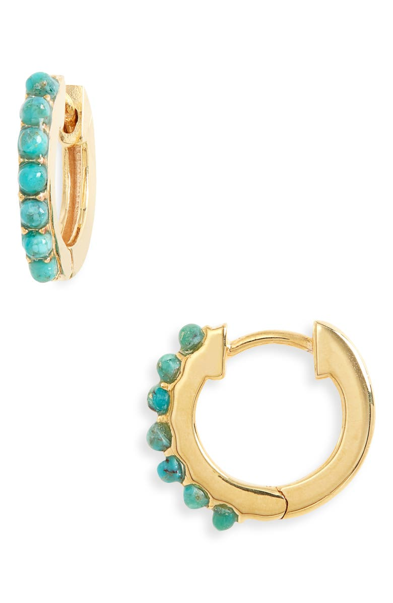 MADEWELL Delicate Collection Demi Fine Pavé Huggie Mini Hoop Earrings, Main, color, TURQUOISE STONE