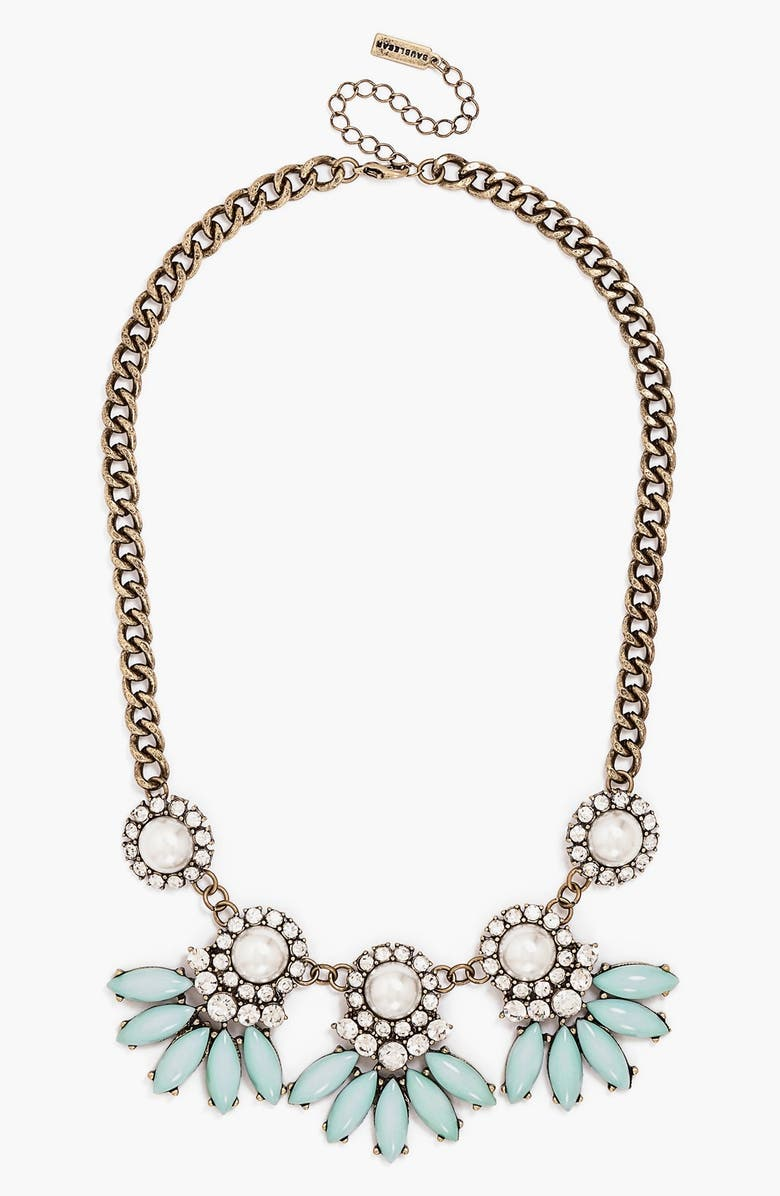 BAUBLEBAR 'Peacock Pearl Aster' Collar Necklace, Main, color, MINT/ GOLD