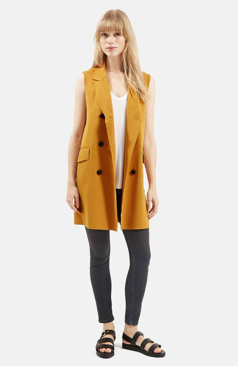 TOPSHOP Sleeveless Double Breasted Jacket, Main, color, MUSTARD