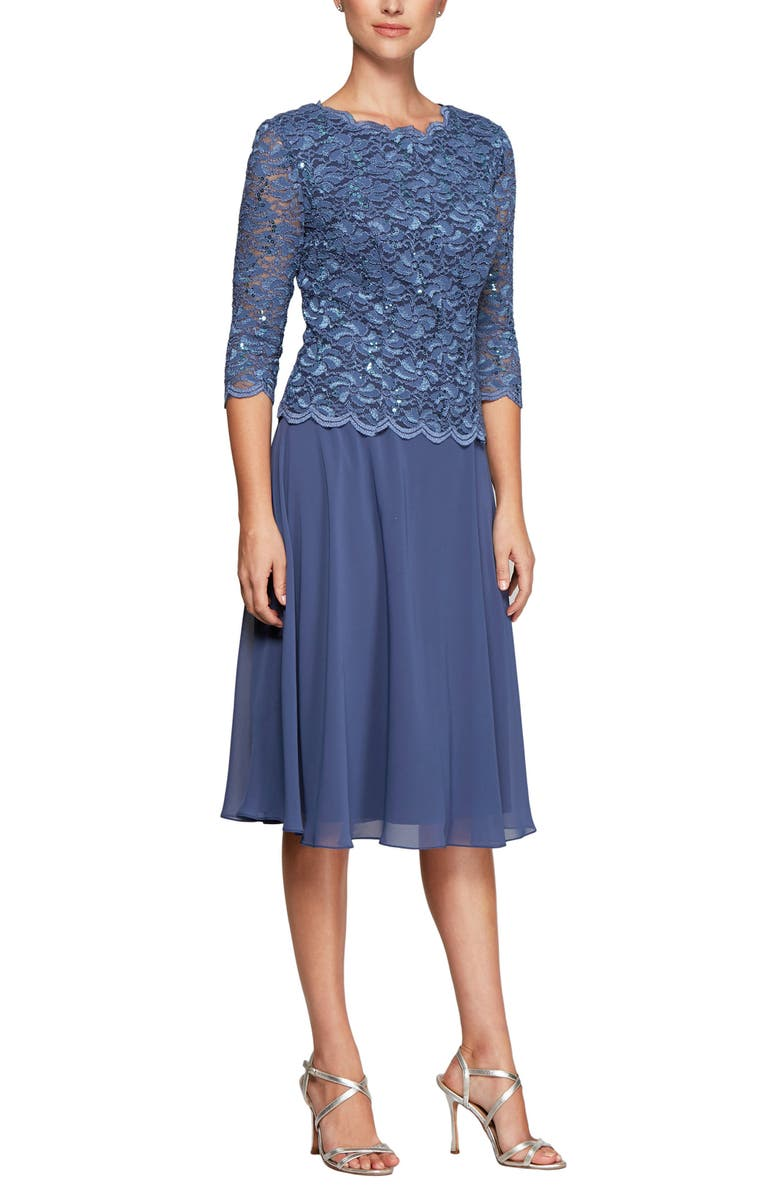 ALEX EVENINGS Mock Two-Piece Cocktail Dress, Main, color, WEDGEWOOD